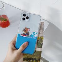 サーフィントム ジェリー iphone12/11proケース お揃い透明 iphoneSE2/XR/xsカバー 可愛い頑丈ファッションアイフォンカバーM463