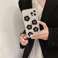 真珠デコ花 iphone12/11ケース  ブラック系クリア iphonexs/xsmaxカバー   かわいい  ファッションM910
