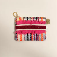 ポーチミニ( France tweed ・White pink  ribbon)