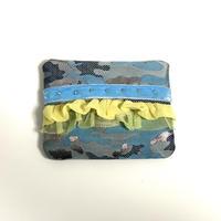 ティッシュケース(西陣織・camouflage silver ・  sky blue ribbon)