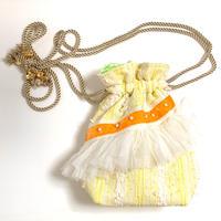 巾着バッグ Sサイズ(japan tweed・White orangeyellow ribbon )