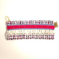 ペンケース(England tweed・sky blue pink ribbon)