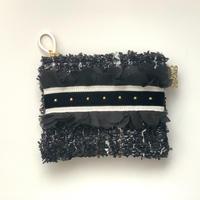 ポーチミニ(France  monotone tweed ・White black  ribbon)