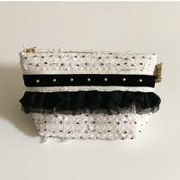 ポーチマチ付き(Japan tweed・monotone dot・White black ribbon)