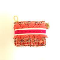 ポーチミニ(England tweed・red colorful・White pink ribbon)