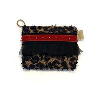 ポーチミニ(Japan tweed ・leopard  black red ribbon)