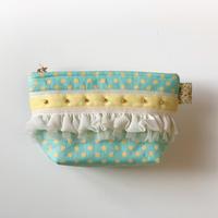 ポーチマチ付き(Japan cotton dot・ Whiteyellow ribbon )
