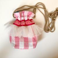 巾着バッグ Sサイズ(England tweed pink check)