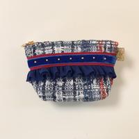 ポーチマチ付き(Japan tweed・ red blue ribbon)