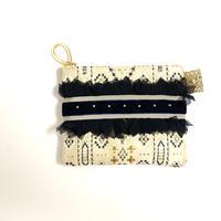 ポーチミニ( 西陣織・beige navy ribbon)