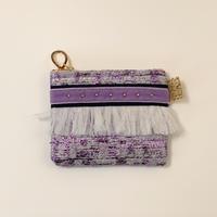 ポーチミニ( France tweed ・navy purple ribbon)