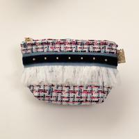 ポーチマチ付き(England tweed・ blue navy ribbon)