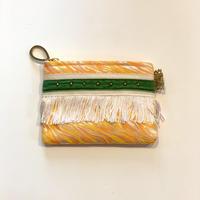 ポーチミニ(西陣織 ・yellow orange・  White khaki ribbon)