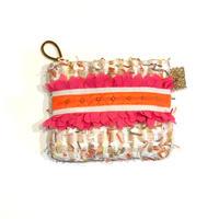 ポーチミニ(England tweed・Ivory colorful・White orange ribbon)