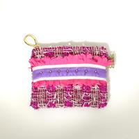 ポーチミニ(England   Thick pinkcheck・White light purple  ribbon)