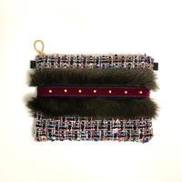 ショルダーポーチ L size(Japan Black colorful tweed・darkbrownfur ・black wine red ribbon )