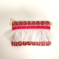ショルダーポーチ(England tweed・orange pink ribbon )