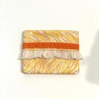 ティッシュケース(西陣織・yellow orange ・  orange ribbon)