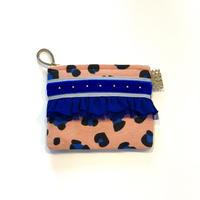 ポーチミニ( Netherlands cotton・ pinkleopard・   light gray blue ribbon)