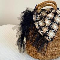 カゴバッグ Mサイズ(England tweed・monotone brown check)