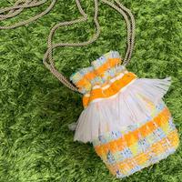 巾着バッグ Sサイズ(England tweed・orangeyellowcheck)