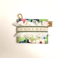 ポーチミニ(Italy flower textile ・green white  ribbon)