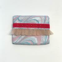 ティッシュケース(西陣織・ pink sky blue・   pink ribbon)