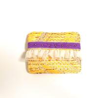 ティッシュケース(France tweed ・purple ribbon)