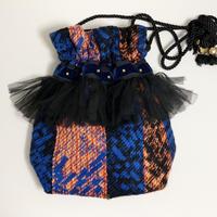 巾着バッグ Mサイズ(Japan tweed Black・blue)