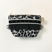 ポーチマチ付き(Japan leopard西陣織・gray black ribbon)