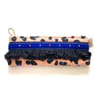ペンケース(  Netherlands leopard cotton・   navy blue  blue  ribbon)