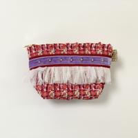 ポーチマチ付き(England pink red tweed・ red purple ribbon)