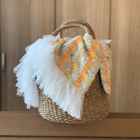 カゴバッグ Mサイズ(England tweed・yellow orange check)