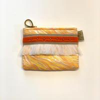 ポーチミニ(西陣織 ・yellow orange・  beige orange ribbon)