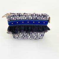ポーチマチ付き(France   blue White tweed・navy blue)