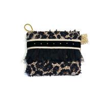 ポーチミニ(Japan tweed ・beigeleopard   beige black  ribbon)