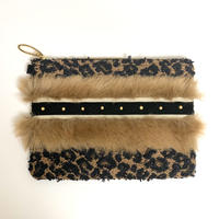 クラッチバッグ(Japan tweed・leopard・brown fur)