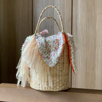 カゴバッグ Sサイズ(England tweed ・  White colorful  fringe tweed)