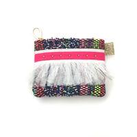 ポーチミニ(France tweed・Navy blue colorful・White pink ribbon )