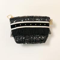 ポーチマチ付き(Japan tweed・ White black ribbon)