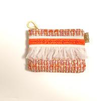 ポーチミニ( England orange tweed ・White orange  ribbon)