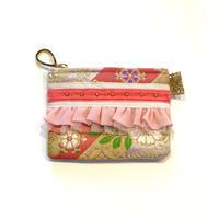 ポーチミニ(西陣織 ・pink flower・   White pink ribbon)