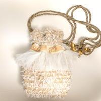 巾着バッグ Sサイズ(England tweed・White Ivory ribbon )