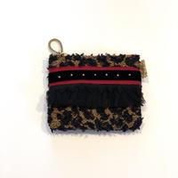 ポーチミニ(Japan tweed ・leopard red black ribbon)