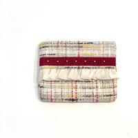 ティッシュケース( Japan  ivory colorful check  tweed・red  ribbon)