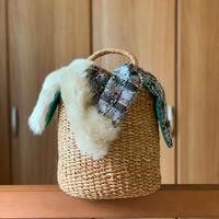 カゴバッグ Mサイズ(England tweed・ ivory fur・Gray)