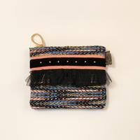ポーチミニ( Japan tweed ・orange black ribbon)