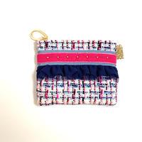 ポーチミニ( England tweed ・sky blue pink ribbon)