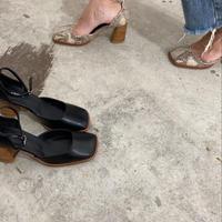 square toe strap heel