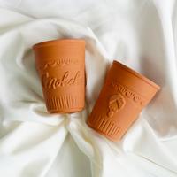 美濃焼き製法オリジナル素焼き陶器カップ2個セット